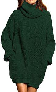 Damen Langarm Oversize Grobstrick Pulloverkleid mit Rollkragen  L