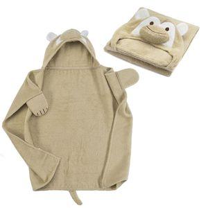 Kapuzenhandtuch - Affe Baby Handtuch mit Kapuze - Badeponcho Kinder Poncho aus Frottee