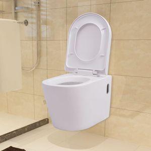SIRUITON Wandmontierte Toilette Tiefspül-Stand-WC Tiefspüler Toilette mit WC-Sitz Badezimmer Keramik Weiß