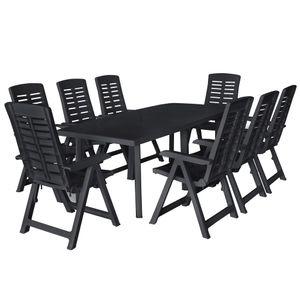 9-teiliges Outdoor-Essgarnitur Garten-Essgruppe Sitzgruppe Tisch + stuhl Kunststoff Anthrazit