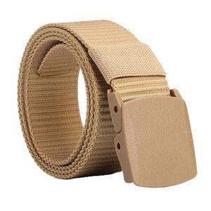 Herrengürtel, Gürtel Herren Stoffgürtel mit Metall Schiebeschnalle für Männer Jeans Anzug, 38mm breit Farbe Khaki