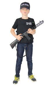 Polizei Weste und Polizei Mütze für Kinder SEK Uniform SWAT Kostüm Set für Jungen Fasching Karneval, Größe:122/128