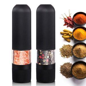 2x Pfeffermühle Elektrische Salzmühle Gewürzmühle Keramikmahlwerk Einstellbare Feinheit Mühle  mit Licht Schwarz
