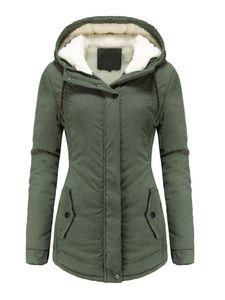 Damen Winter Kapuze warme lässige Baumwolljacke,Farbe: Armeegrün,Größe:XL