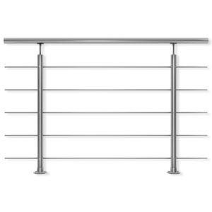 DOLLE Geländer Edelstahl Bodenmontage, Länge 150 cm; Höhe 150 cm, witterungsbeständig, für Treppe, Balkon, Brüstung & Terrasse