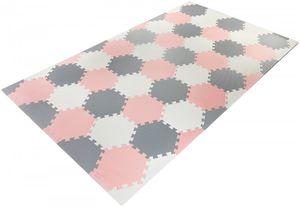 XXL Krabbelmatte Puzzelmatte mit Rand Spielmatte für Babys und Kleinkinder 260 x 135 x 1 cm + Wasserdicht + Tragetasche - Rosa