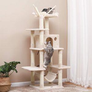 FEANDREA Kratzbaum XXL 154cm mit Höhle und Hängematte und Spielsisal für 3-4 Katzen beige PCT86M