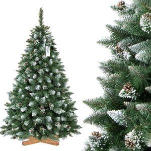 FAIRYTREES künstlicher Weihnachtsbaum KIEFER, Natur-Weiss beschneit, Material PVC, echte Tannenzapfen, inkl. Holzständer, 180cm, FT04-180