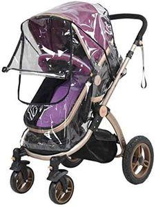 Universal Regenschutz Regenhülle für Kinderwagen Buggy Regen-Abdeckung mit Reißverschluss Öffnung, Transparent PVC Material, gegen Wind Regen Wetter