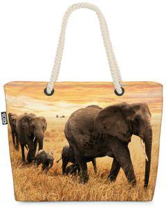 VOID Elefanten Steppe Afrika Strandtasche Shopper 58x38x16cm 23L XXL Einkaufstasche Tasche Reisetasche Beach Bag