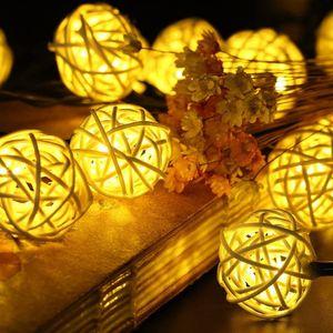 Rattan Lichterkette Solar Warmweiß, 20 LEDS 4M 2Modes Außen Lichterketten Solar Lampions Wasserdicht Weihnachtsbeleuchtung für Gärten Häuser Outdoor (Warmweiß)