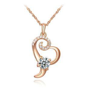 Damen Halskette Herz Kette Heart Anhänger vergoldet Herzkette Zirkonia Kristalle Autiga® rosegold