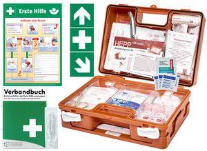 Erste Hilfe Kasten -Komplettpaket- DIN/EN 13157 für BÜRO & BETRIEBE + DIN/EN 13164 für KFZ - INKL. 1. Hilfe AUFKLEBER & AUSHANG