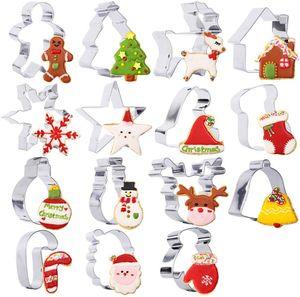 15 Stück Ausstecher Set aus Edelstahl für Weihnachten, Ausstechformen Keksausstecher Plätzchen Form mit feiner Geschenkbox - Weihnachtsbaum, Weihnachtsmann, Rentier, Weihnachtsstrümpfe, Glock