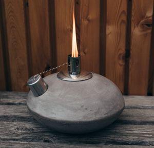 """Öllampe Gartenlampe Oval """"UFO"""" 20cm aus Leicht-Beton in Anthrazit Tischfeuer Gartenfackel"""
