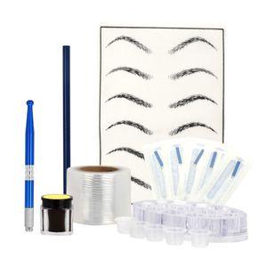 Augenbraue Permanent Make-up Tattoo Kit mit Tattoo Stift, Augenbrauenschablonen Übungshaut, Tattoonadel, Farbkappen, Augenbrauengel und Augenbrauenstift