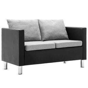 dereoir 2-Sitzer-Sofa Kunstleder Schwarz und Hellgrau