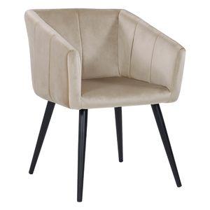 Duhome Esszimmerstuhl Armlehnstuhl Sessel Stoff Samt in Creme Beige Retro Design