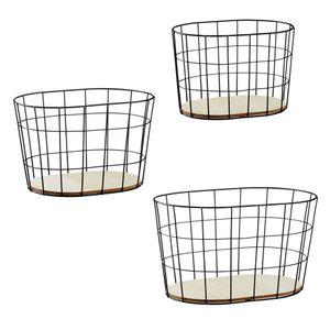 Deko Korb, Metall, schwarz, oval, 3er Set, 3/s