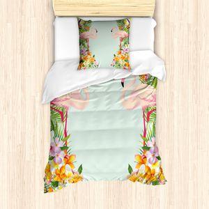 ABAKUHAUS Flamingo Bettbezug Set für Einzelbetten, Tropische Blumen Tiere, Milbensicher Allergiker geeignet mit Kissenbezug, Babyblau Mehrfarbig