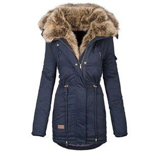 Frauen Winter Langarm Einfarbig Hooded Baumwolle Padded Coat Oberbekleidung Größe:M,Farbe:Hellblau