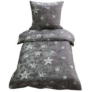 Bettwäsche 135x200 + 80x80 cm grau anthrazit Sterne mit Reißverschluss, 2-tlg.