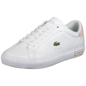 LACOSTE Damen Sneaker - Powercourt 0721 2 SFA, Turnschuhe, Leder Weiß/Pink EUR 39