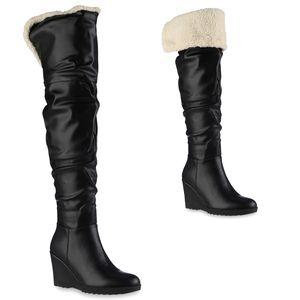 VAN HILL Damen Stiefel Keilstiefel Kunstfell Keilabsatz Profil-Sohle Schuhe 837862, Farbe: Schwarz, Größe: 39