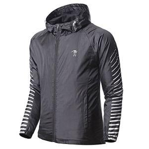 Frühling / Herbst-Mann-Sport-Jacke Laufen windundurchlässiges Jogging Mantel gestreifter Pullover -(Schwarz,L)