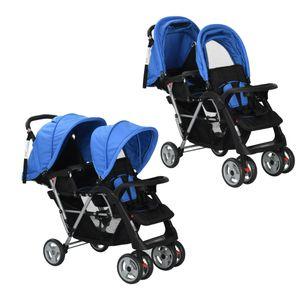 Huicheng Geschwisterwagen Zwillingskinderwagen Stahl Zusammenklappbar Zwillingsbuggy Kinderwagen Blau/Schwarz