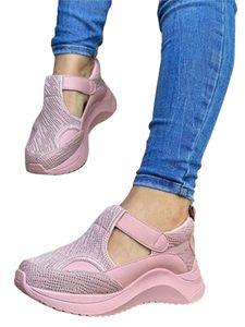 Frauen Atmungsaktive Mesh-Trainingsschuhe mit dicken Sohlen und erhöhten Sportlaufschuhen,Farbe: Pink,Größe:40