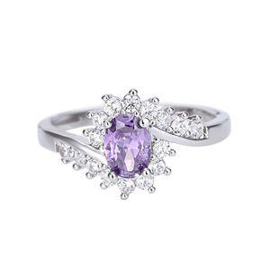 Exquisite 925 Sterling Silber Saphir Edelsteine ??Braut Verlobungsring Gr??e 6-9
