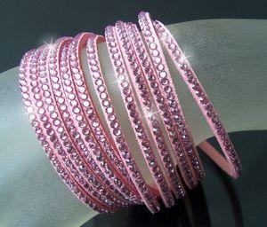 A6000A* 2-fach WickelArmband LederLook rosa Strass lila