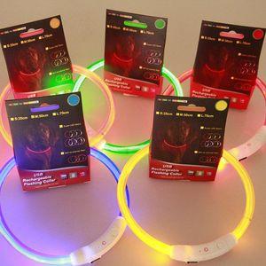 USB-Ladeversion LED Haustier blinkendes Licht Hundehalsband leuchtend grosse mittlere und kleine Hunde Hundehalsband Hundekette Grue  nes Licht Faserabschnitt 35cm