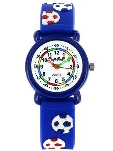 Pacific Time Kinder Armbanduhr Jungen Lernuhr Fußball blau