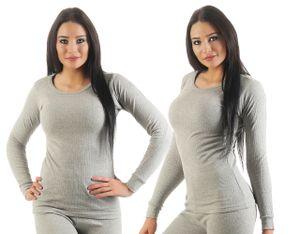 Unterwäsche Thermo, Farbe:2 Stück Damen Unterhemden hellgrau, Gr. :36/38, Materialmix:50% Baumwolle & 50% Polyester