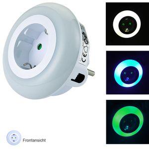 LED Nachtlicht-Steckdosen-Adapter Orientierungslicht LED-Licht mit Dämmerungssensor und Steckdose : 2er Set
