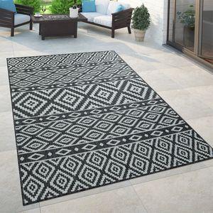 In- & Outdoor-Teppich, Für Balkon Und Terrasse Mit Skandi-Muster, In Schwarz, Grösse:80x150 cm