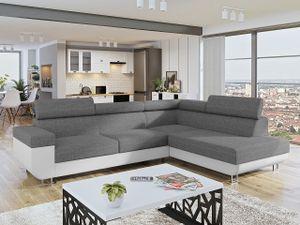 Mirjan24 Ecksofa Fonti, Eckcouch mit Schlaffunktion und Bettkasten, L-Form Sofa vom Hersteller (Soft 017 + Lux 05, Seite: Rechts)