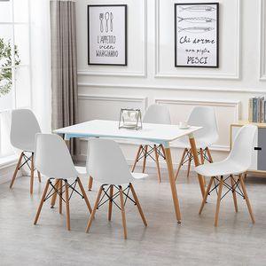 6er-set Esszimmerstühle Lounge Stuhl Dining chair für Esszimmer,Küche, Büro,Lounge-Weiß
