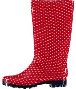 XQ Footwear regenstiefel Punkt hohe Damen Gummi rot