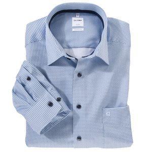 Olymp XXL Langarmhemd bügelfrei bleu gemustert, Kragenweite:46