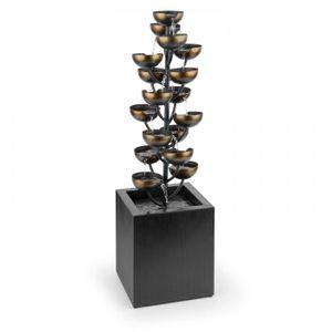 Blumfeldt Joshua Tree - Gartenbrunnen , Zierbrunnen , Kaskadenbrunnen , Wasserspiel mit 17 Wasserschalen , 7 Watt Wasserpumpe , IPX8 Standard , einfache Installation, für drinnen und draußen, schwarz
