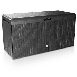 Auflagenbox Kunststoff Truhe Box Kissenbox 100kg Gerätetruhe Kiste Gartentruhe, Modell/Farbe:Rato PLUS anthrazit