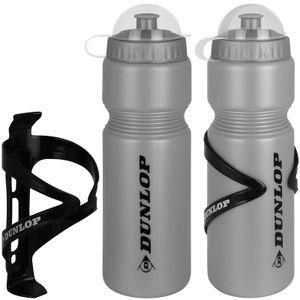 Dunlop Fahrradflasche 750 ml mit Halter 2 Stück grau Trinkflasche Fahrrad Wasserflasche Radflasche