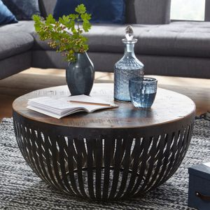 Couchtisch NISHA 70x33x70 cm Holz / Metall Wohnzimmertisch