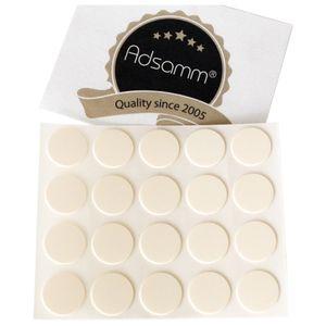 20 x Abdeckkappen | Ø 13 mm | Creme | rund | 0,45 mm dünne selbstklebende Möbelpflaster von Adsamm®