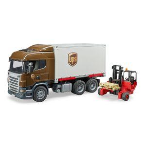 Bruder Scania R-Serie UPS Logistik LKW mit Mitnahmestapler