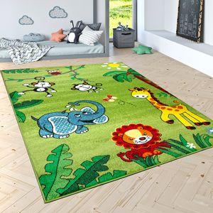Kinderteppich Spielteppich Dschungel Tiere Palmen Affe Elefant Giraffe Löwe Grün, Grösse:200x280 cm