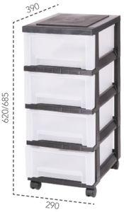 IRIS OHYAMA Rollcontainer 4 mittlere Schubladen, schwarz-transparent 6158